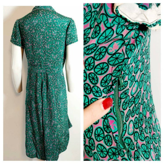 Vintage 30s 40s silk rayon dress / 40s novelty pr… - image 7