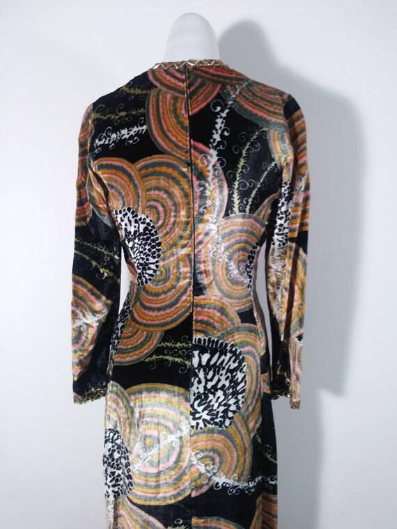 Vintage 60s velvet psychedelic cult dress / 60s m… - image 10