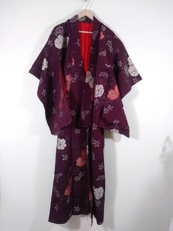 Vintage raw silk robe / 1950s 60s robe dressing go
