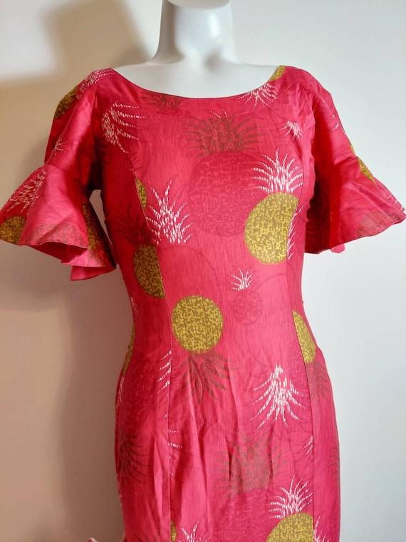 vintage 50s 60s Royal Hawaiian dress / hostess dr… - image 4