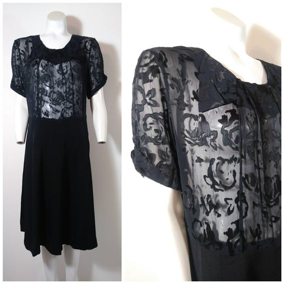 40s velvet burn out dress / 40s rayon Art Deco Dre
