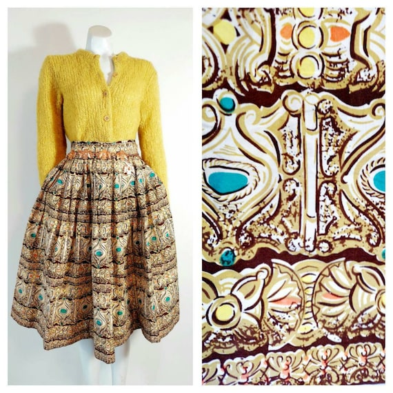 vintage 50s skirt / 50s novelty print skirt / 50s