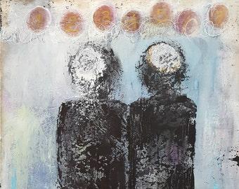 Jewish Wedding Original Abstract Mixed Media Painting - SEVEN BLESSINGS Under the CHUPPAH 24x30
