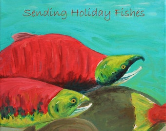 sending holiday fishes - HOLIDAY ART CARD - ecofriendly