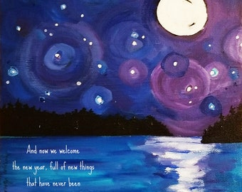 and now we welcome the new year (full moon)- HOLIDAY ART CARD - ecofriendly