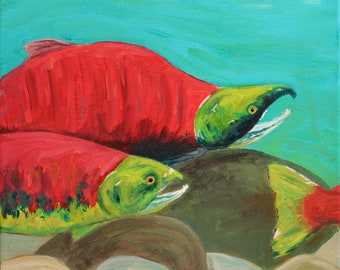 nearly home (sockeye salmon) - ART CARD - ecofriendly