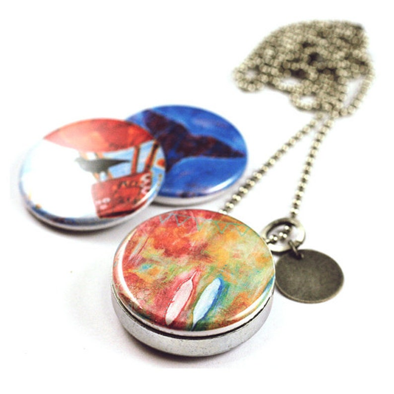 3-in-1 Art Locket with interchangeable magnetic lids custom image 0