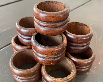 8 Piece Set Farmhouse Country Tableware No 2  Vintage Napkin Rings Price Reduced Wood Napkin Rings Wooden Utensil Rings