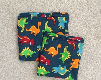 Reusable sandwich bag andSnack Baggie.. Zippered pouch. Cute Dinosaurs