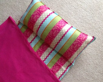 Personalized nap mat, Great for daycare or preschool. Girls. Cute stripes. Oh so soft.