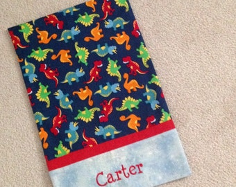 Personalized travel size pillow case. Cute dinosaurs. 12x16