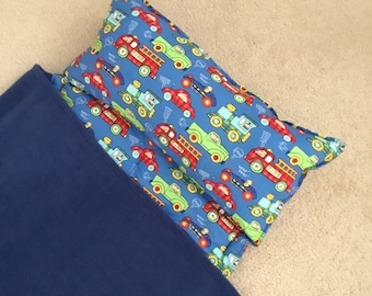 Personalized Nap Mat, Great for daycare, preschool or kindergarten.  Boys, trucks and cars