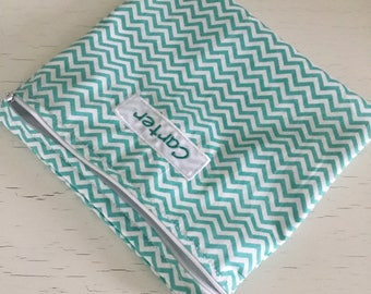 Personalized large snack baggie or sandwich bag. Reusable Zipper pouch. Teal chevron.