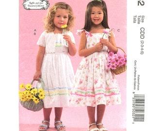 Girls Dress Pattern McCalls 5032 Flower Girl Dress Bolero Jacket Sundress Ruffle Sleeve Girls Size 2 3 4 5 Sewing Pattern UNCUT