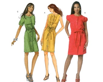 a9bf00ac3d6ba0 Womens Casual Dress Pattern Butterick 5600 Shirt Dress Elastic Waist Ruffle  Button Front Ladies Size 6 8 10 12 Sewing Pattern UNCUT