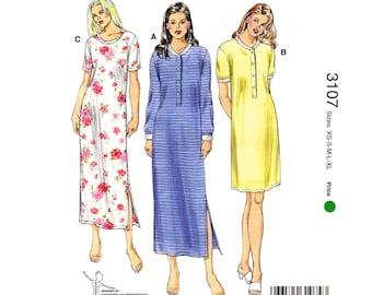 Womens Nightgown Pattern Kwik Sew 3107 Long Pullover T-Shirt Nightgown Ladies Nightie Long Sleeve Size XS S M L XL Sewing Pattern