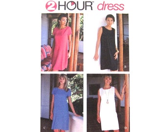 Easy Dress Pattern Simplicity 9591 Loose Dress Sleeveless or Short Sleeve A-Line Dress Womens Size 6 to 16 Sewing Pattern UNCUT