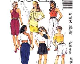 90s Off Shoulder Top, Crossed Halter Top, Shorts, Pants Pattern McCalls 5454 Midriff Crop Top Womens Size 6 8 Sewing Pattern UNCUT