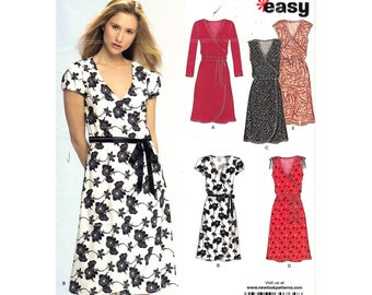 Faux Wrap Dress Pattern New Look 6697 Long Sleeve Dress or Sleeveless Dress Womens Size 8 to 18 Easy Sewing Pattern UNCUT