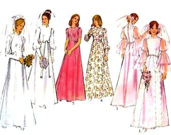 1970s Vintage Wedding Dress Sewing Pattern Style 4455 Flounce Sleeve Bridesmaid Dress Wedding Gown Bust 34 UNCUT