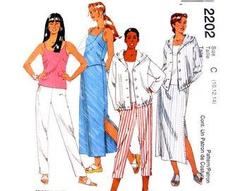 Womens Sewing Pattern Casual Hoodie Top, Tank Top, Skirt, Pants, Shorts Pattern McCalls 2202 Size 10 12 14 UNCUT