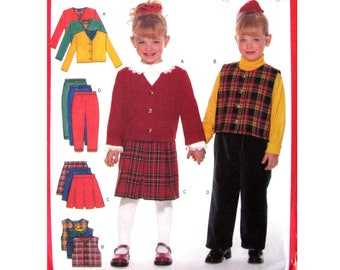 Girls Sewing Pattern Jacket Vest, Blouse, Pleated Skirt, Pants Butterick 5777 Trousers Girls Size 2 to 5 or 6 7 8 Pattern UNCUT