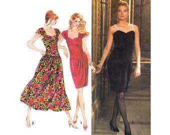 90s Drop Waist Dress Pattern Simplicity 7619 Pleated Strap Dress Gathered or Wrap Skirt Dress Womens Sewing Pattern Size 12 14 16 UNCUT