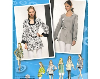 Womens Tunic Pattern Shaped Neckline Long Top Cap or Bell Sleeves Pullover Blouse Simplicity 2930 Womens Sewing Pattern Size 6 to 14 UNCUT