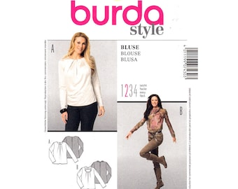 Pullover Blouse Pattern Burda 7430 Cowl Neck Top Long Sleeves Womens Size 10 to 20 Sewing Pattern UNCUT