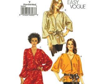 Kimono Top & Tunic Pattern Vogue 8668 Long Boho Top or Loose Tunic 3/4 or Long Sleeve Womens Sewing Pattern Size 4 to 14 UNCUT