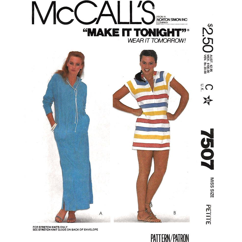 Hooded Beach Cover Up Pattern McCalls 7507 Caftan Style Beach Dress ...