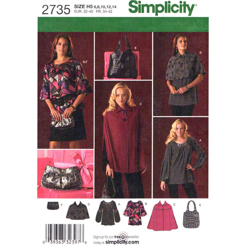 Cape, Capelet, Tunic Top Pattern Simplicity 2735 Pullover Top Lantern or  Flounce Sleeve Womens Size 6 to 14 or 14 to 22 Sewing Pattern UNCUT