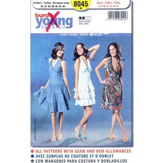 Neckholder Kleid Schnittmuster Burda 8045 Volant Tier Kleid | Etsy