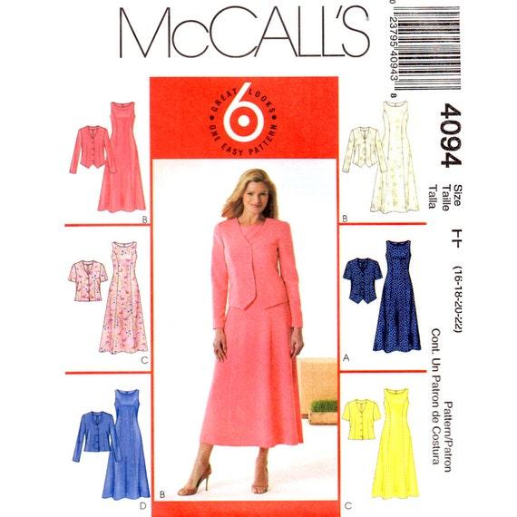 Ungefütterte Jacke & Kleid Schnittmuster McCalls 4094 | Etsy