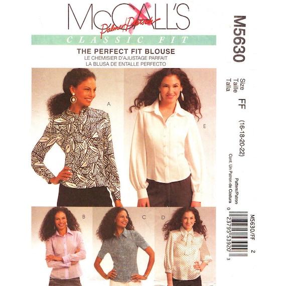 Blouse Sewing Pattern Mccalls 5630 Plus Size 16 18 20 22 Etsy
