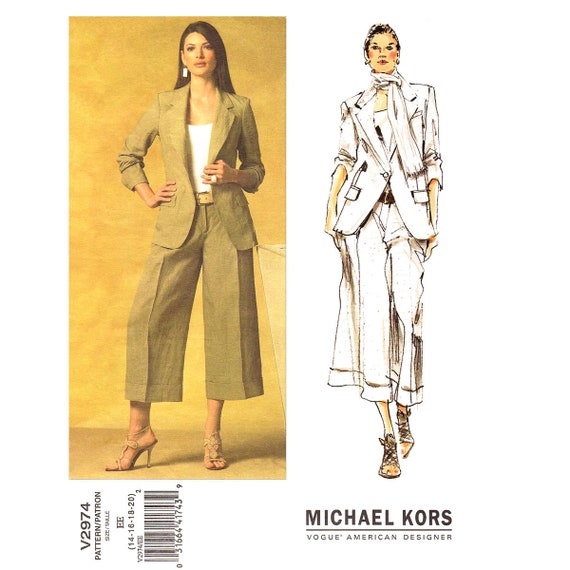 Unlined Fitted Jacket Wide Pants Suit Pattern Vogue 2974 Etsy