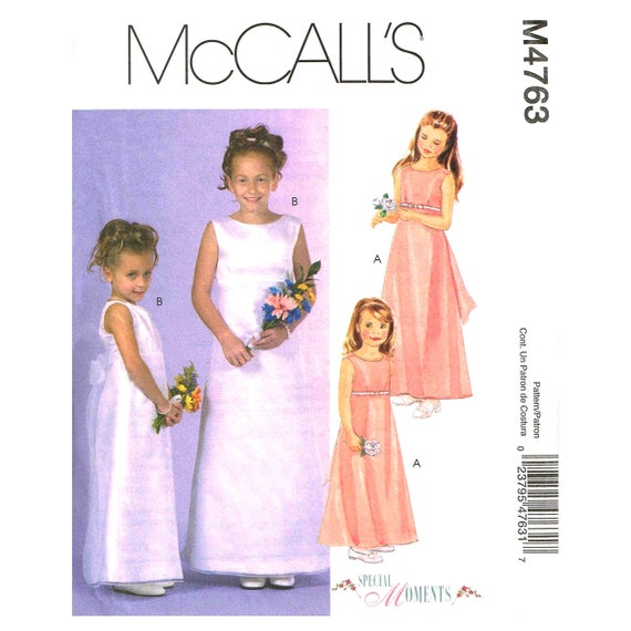 Girls Long Dress Pattern Mccalls 4763 Flower Girl Dress Etsy