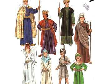 Nativity Costume Pattern McCalls 2067 Angel Shepherd Wise Men Child Size 12 14 Sewing Pattern