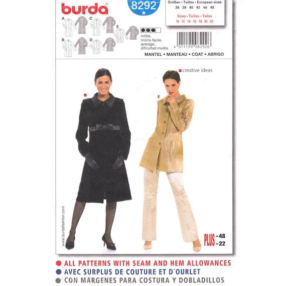 Veste Avant Femmes Taille Coupe Burda Hanche De Patron Long 10 À Princesse 22 Non Bouton Manteau 8292 Couture Col xBCoed