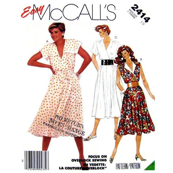 4edd79e5841c Bodice Wrap Dress Pattern McCalls 2414 Flared Skirt Sailor | Etsy