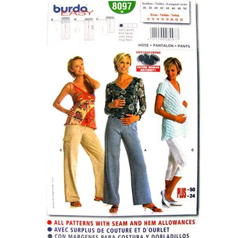 990c374a2c091 Maternity Pants Pattern Burda 8097 Maternity Pants or Capris | Etsy