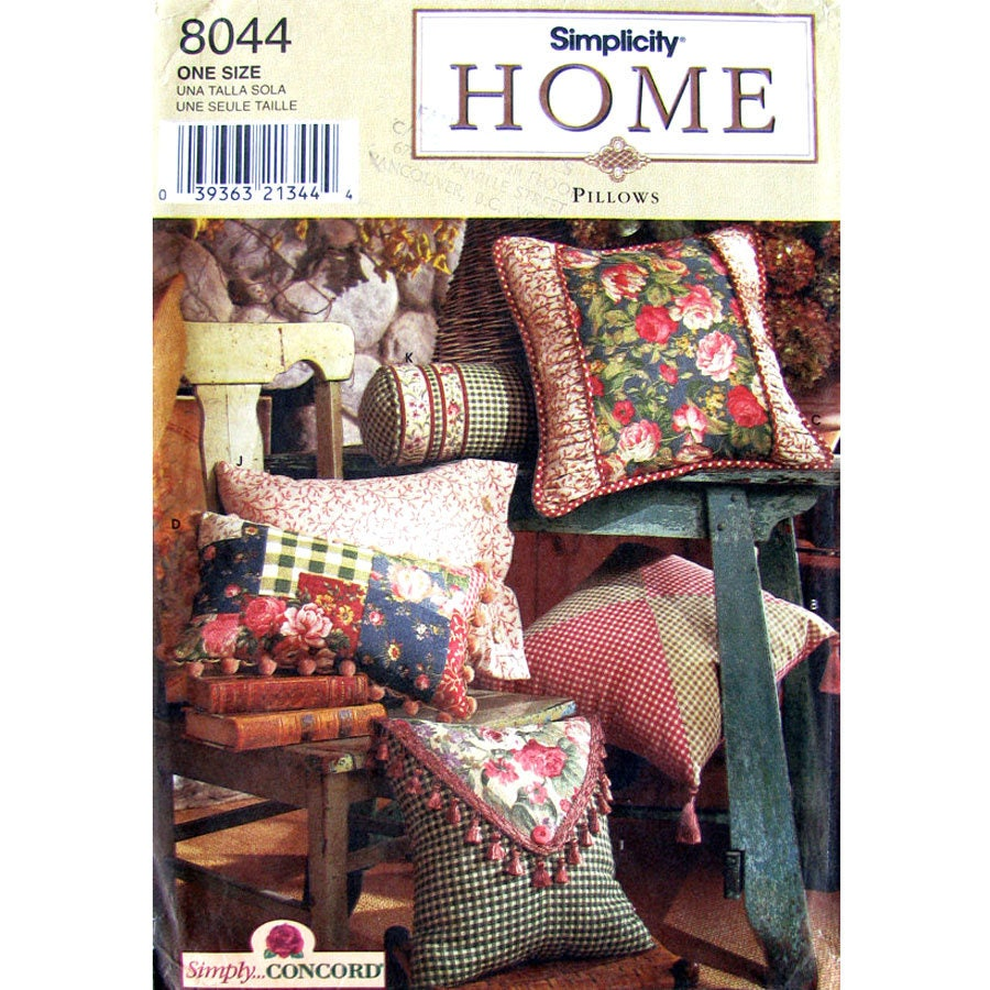 Home Decor Sewing Ideas: Home Decor Pillow Sewing Pattern Simplicity 8044 Square