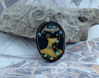 bf81ac848276 Lady in Hat Brooch Black Resin with Inlaid Shell Glitter Accents Great Gift  Idea Beautiful Quality 1980's Woman's Brooch Pin Plus a Bonus