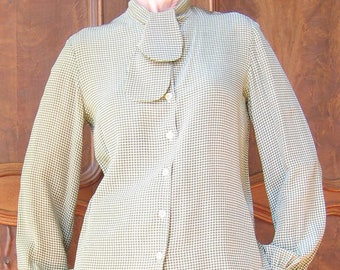 5667805a0825 Valentino Boutique Blouse Silk Houndstooth Print 1980's
