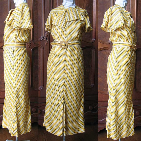 1930's Bias Cut Cotton Stripe Dress