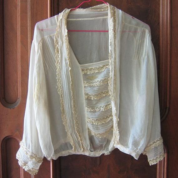 Antique Blouse Chiffon and Lace