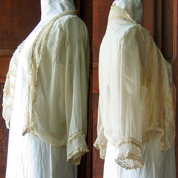 Antique Blouse Chiffon and Lace - image 3