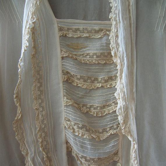 Antique Blouse Chiffon and Lace - image 8