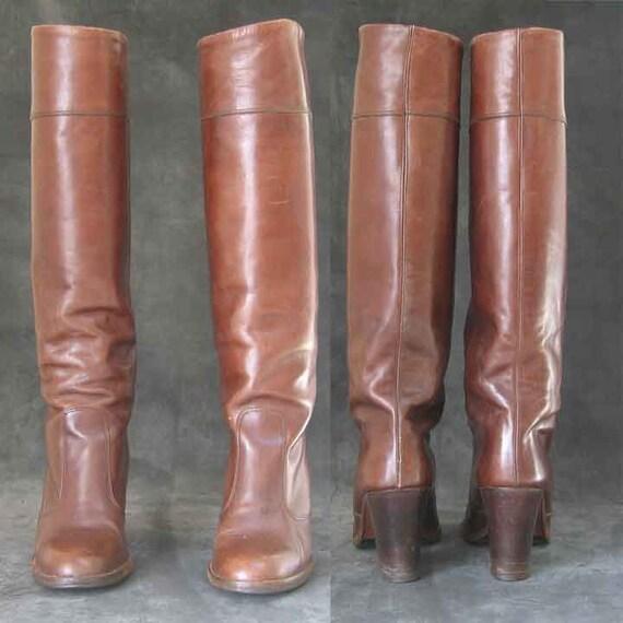 Bottes pour dames en cuir marron empilées Salut talon talon talon | Livraison Immédiate  e6a702