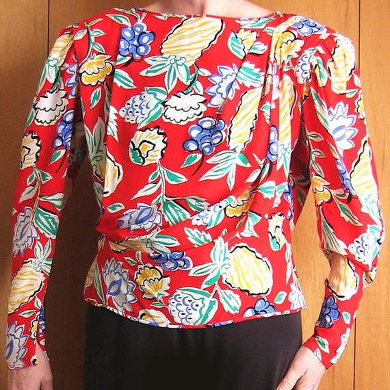 Silk Print Blouse Button Back with Tie String
